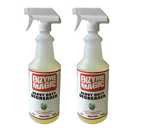 ENZYME MAGIC Heavy Duty Degreaser; Industrial Strength to Clean Grease, Oil & Stains of Concrete, Decks, Floors, Tools, Auto Parts. Non-Toxic ((2) 32oz Ready-to-Use Spray Bottles)