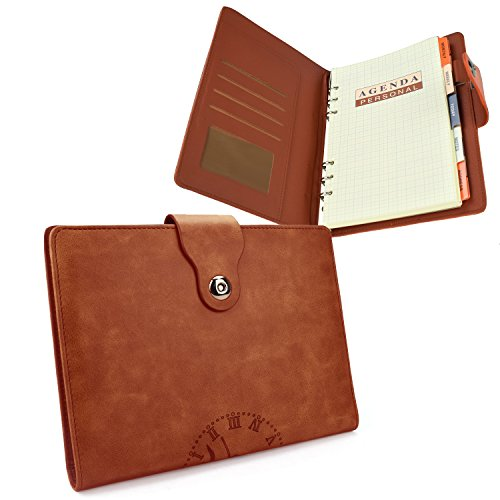 EzSos Leather Notebook,6 Hole Refillable Journal,Personal Agenda with Label, Leather Diary with Magnetic Clasp/Card Holder/Pen Loop, 106 Lined Pages , A5 / 8.4 X 6.1 Inches, Brown/Beige