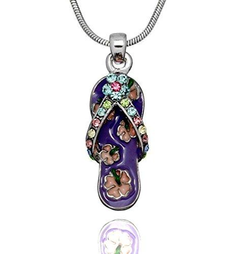 Enameled Sandal Pendant - DianaL Boutique Beautiful Enameled Purple Flip Flop Slipper Sandal Pendant Necklace