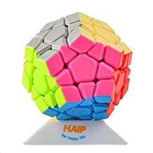 Magic Cube, Haip Yuhu Megaminx Stickerless Speed Cube Puzzle Cube Colorful (Base Holder/Bag Included)