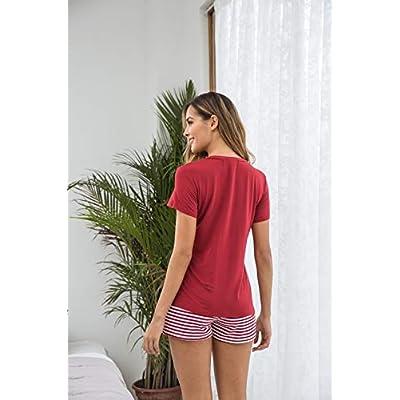 Hotouch Womens Pajamas Short Sets V-Neck Short Sleeve Shorts Sleepwear Pj Sets at Women's Clothing store