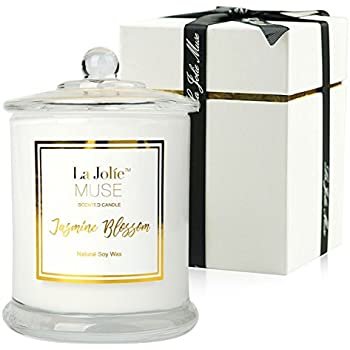 LA JOLIE MUSE Jasmine Scented Candle Gift Soy Wax, Glass Jar Candle, 55  Hours