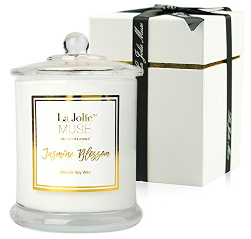 Jasmine Scented Candle Gift Soy Wax, Glass Jar Candle, 55 Hours BURN, Fine Home Fragrance, Valentine's Gift Candle for her