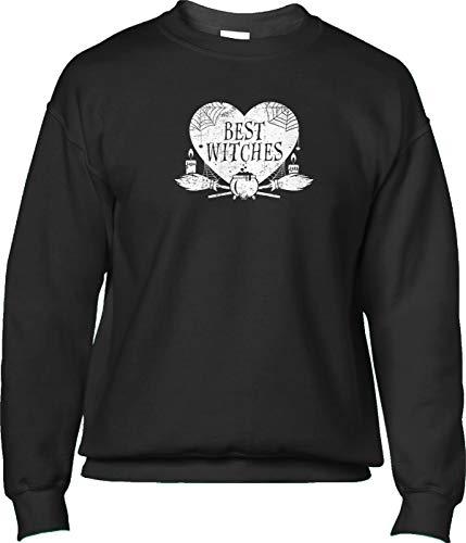 Blittzen Mens Sweatshirt Best Witches - Halloween Pun Besties, S, Black