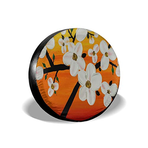 All agree Spare Wheel Tire Cover Cherry Blossom Love Birds Universal Waterproof/Windproof Spare Tire Tyre Cover Wheel Covers for Car/Trailer/RV/SUV/Truck/Boat/Motorhome 14 inch