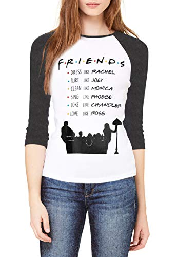 Topcloset Friends TV Show Name List Women 3/4 Sleeve Raglan Baseball T-Shirt Size L
