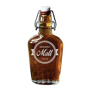 Engraved Swing Top Glass Flask - Personalized Custom Groomsmen Flask - Baseball Style