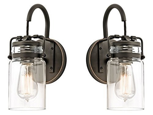 Tall Sconce Bronze (Kichler 45576OZ Brinley 1-Light Wall Sconce and Clear Glass Shade, Olde Bronze Finish (Old Bronze Finish - 2 Pack))