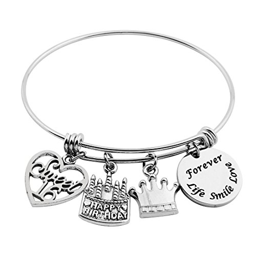 SEIRAA 16th Birthday Gifts for Her Adjustable Bangle Stainless Steel Bracelet 13th 21st 30th 40th 50th (Sweet 16 Birthday)
