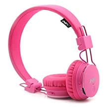GranVela X2 Over-Ear Bluetooth Headphones, Foldable 4 in 1 Stereo Kids Headset Wireless Handsfree Earphone with Mic and MicroSD Card Player, Radio, AUX for iPhone, Samsung and More - Pink