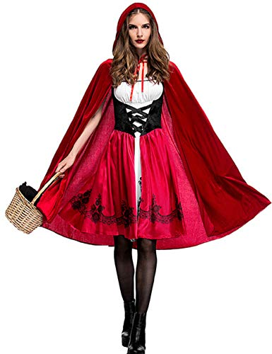 Colorful House Red Riding Hood Costume For Women, Halloween Adult Dress(Medium)