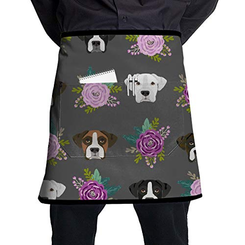Men Women Waist Apron Kitchen Apron Waiter Hostess Apron Water Resistant Liquid Drop Resistant for Restaurant, Salon, Chef Boxer Dogs and Flower Apron Extra Long Ties -
