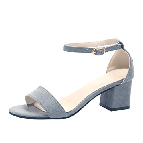 CYBERRY.M Mode Femmes Dames Sandales Cheville Mi-Talon Bloc Party Open Toe Chaussures Gris