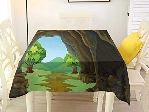 (L'sWOW Square Tablecloth Stripe Cave Rock Shelter in Countryside with Distant Hills Green Trees and Lawn Pale Brown Green Pale Blue Western 70 x 70 Inch)