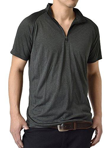 (アルージェ) ARUGE 感動ドライ 吸汗速乾 接触冷感 UVカット UPF50+ 半袖ポロシャツ Tシャツ ゴルフウエア ハーフジップ 水陸両用 メンズ/C5F