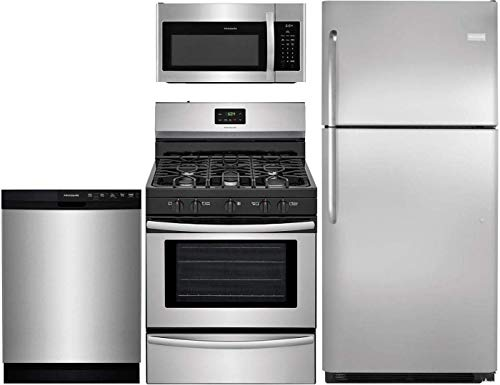 Frigidaire 4-Piece Kitchen Package with FFTR2021QS 30″ fridge, FFGF3052TS 30″ Gas Range, FFMV1645TS 30″ Over the Range Microwave and FFBD2412SS 24″ Built In Full Console Dishwasher in Stainless Steel