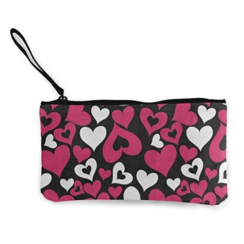 Canvas Coin Purse Valentine Heart Love Customs Zipper Pouch Wallet For Cash Bank Car Passport ()