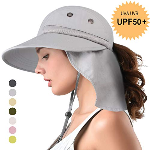 camptrace Safari Sun Hat Wide Brim Fishing Hat with Neck Flap for Women Ponytail Outdoor Packable UPS UPF50+ Light Grey