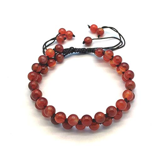 Zozu Natural Stone Bead Bracelets Carnelian Jewelry Wire Cord Rope Pave Bracelet Hand Made Knotted Extensive Good Quality
