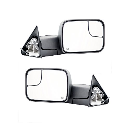 Towing Mirrors for 02-08 Dodge Ram 1500 03-09 Dodge Ram 2500 3500 Pickup Truck Power Heated Tow Folding Side View Black Mirror Pair Set: Right Passenger and Left Driver Side (Ram 1500 Towing)