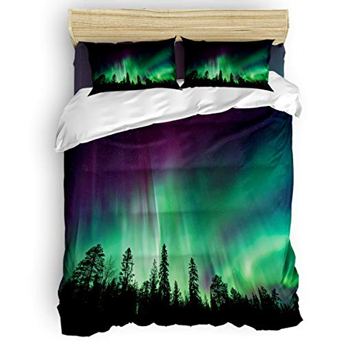 Libaoge Bedding Duvet Cover 4 Piece Set Full Size, Purple Green Northern Lights Aurora Borealis Forest Comforter Cover with Corner Ties/Flat Sheet/Pillowcases for Men Women Adults Teen Kids
