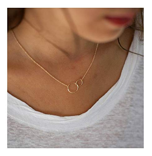 Mother Necklace Silver Mothers Necklace - 925 Sterling Silver Mother Daughter Necklace Gold-plated Hammered Two Interlocking Infinity Double Circles Necklace