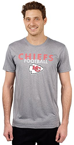 NFL Kansas City Chiefs Men's T-Shirt Athletic Quick Dry Active Tee Shirt, Large, Gray ()