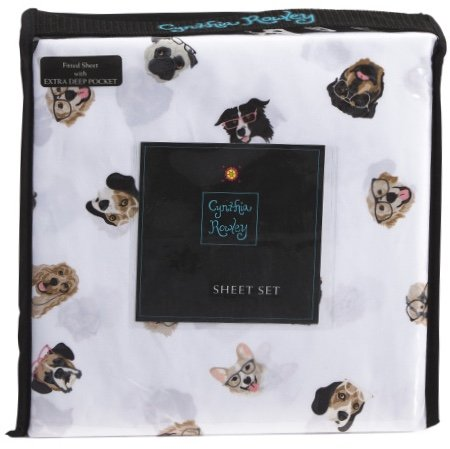 Cynthia Rowley Dogs with Glassesフルサイズシートセット – マイクロファイバー B078KNFT6Q