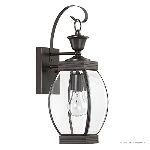 Luxury Colonial Outdoor Wall Light, Medium Size: 17''H x 5.5''W, with Transitional Style Elements, Bowed Design, Gorgeous Dark Medieval Bronze Finish and Beveled Glass, UQL1170 by Urban Ambiance by Urban Ambiance (Image #7)