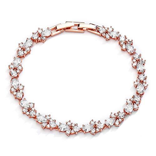 Mariell CZ Wedding Bridal & Prom Tennis Bracelet for Women, 14K Rose Gold Plating, 7