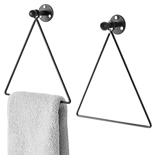 MyGift Modern Wall-Mounted Triangle Black Metal Hand Towel Ring, Set of 2