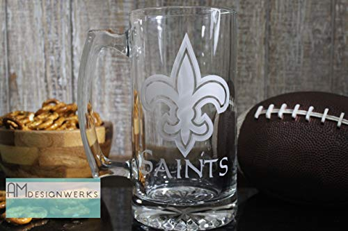 - New Orleans Saints Jumbo 28.5oz Hand Etched Glass Beer Mug