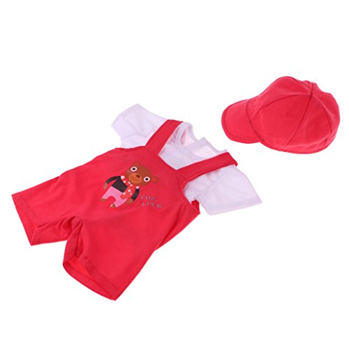 Homyl New Doll Clothes Three-piece Suit White Tops Suspender Matching Cap for 18''American Doll Accessory Red