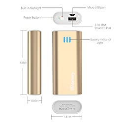 Jackery Bar Pocket-sized 6000mAh Ultra Compact Portable Charger (External Battery Power Bank) with Premium Battery Cells Aluminum Shell Superior Charging Speed (Gold)
