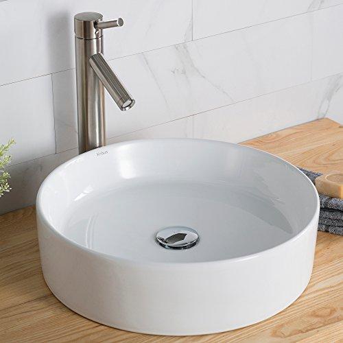 Kraus KCV-140 Ceramic undermount Round Bathroom Sink, 18 x 18 x 4.84 inches, White