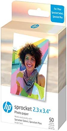 """HP Sprocket 2.3 x 3.4"""" Premium Zink Sticky Back Photo Paper (50 Sheets) Compatible with HP Sprocket Select and Plus Printers."""