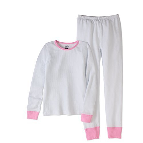 Fruit of the Loom Girls' Big Waffle Thermal Underwear Set, White, 14/16