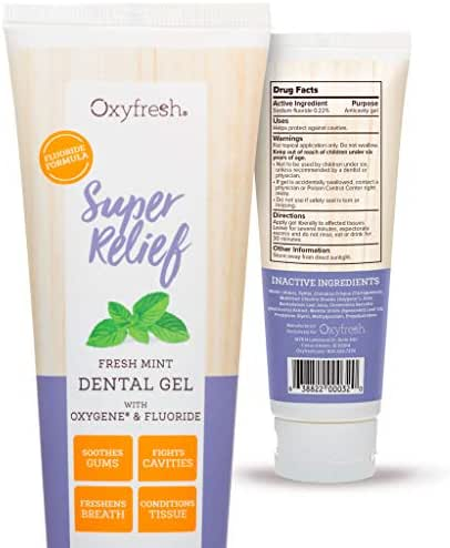 Oxyfresh Super Relief Fluoride Dental Gel: Soothes Sensitive Gums, Promotes Healing, Sore Gums, Tooth Extraction, Oral Surgery, Braces, Dentures, Canker Sores.Cavity Protection.Dentist Recommend 4oz.