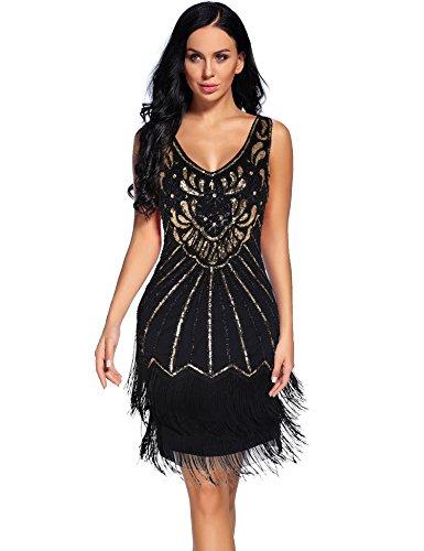 Women's 1920s V Neck Flapper Dress Sequin Embellished Gatsby Tassels Cocktail Dress (BlackGold, XL) ()