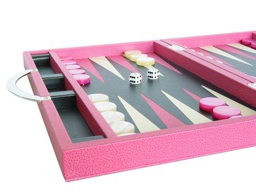 Zaza & Sacci Leather Backgammon Set - Board Game (15'' Luxury Travel Attache Case, Model ZS-200) - Pink by Zaza & Sacci