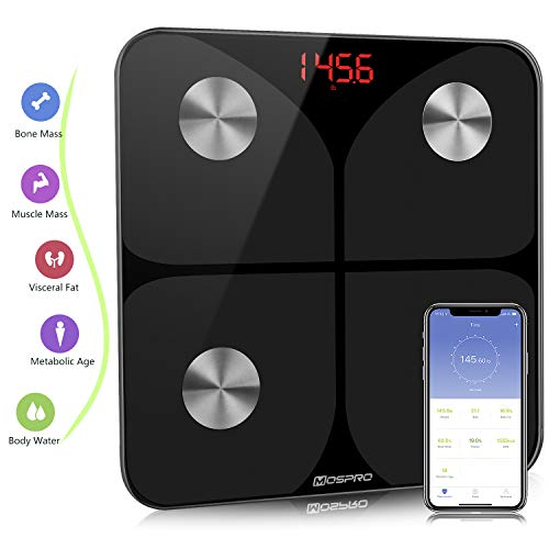 Smart Body Fat Weight Scale - Digital Bathroom BMI Scale High Precision Wireless Body Composition Analyzer Health Monitor with iOS & Android App for Body Weight Fat Water BMR & More ()