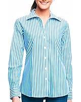 Foxcroft Ladies' Wrinkle Free Blouse-Blue Stripe