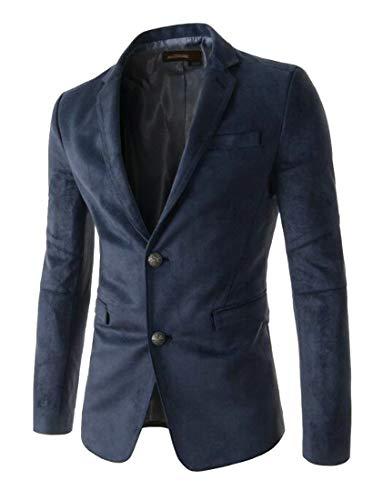 SELX Men Two Button Lapel Casual Solid Color Suede Blazer Jacket Navy Blue US XS