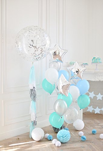Minishot 5x7ft Kids 1st Bday Decorations Backdrop Girls Birthday Photography Drop Lay Out Floor Background White Blue Ballons Paper Balls Tassel Bouquets Cake Table Banner Flags Photo Shot Booth