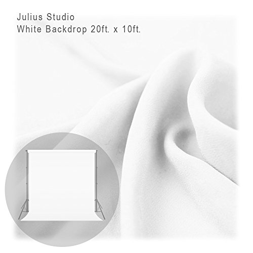 Julius Studio 20 ft X 10 ft White Chromakey Photo Video Studio Fabric Backdrop, Background Screen, Pure White Muslin, Photography Studio, JSAG198 by Julius Studio