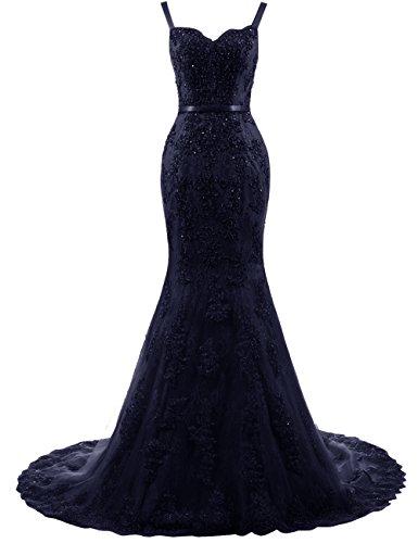 Spitze Brautkleider Träger Hochzeitskleider Damen Abendkleider Meerjungfrau Lang mit Ballkleider Marineblau 6xwIAqYH