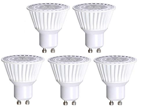 5 Pack Bioluz LED GU10 50W Replacement (Uses only 6.5 watts) Dimmable 3000K 120v UL Listed
