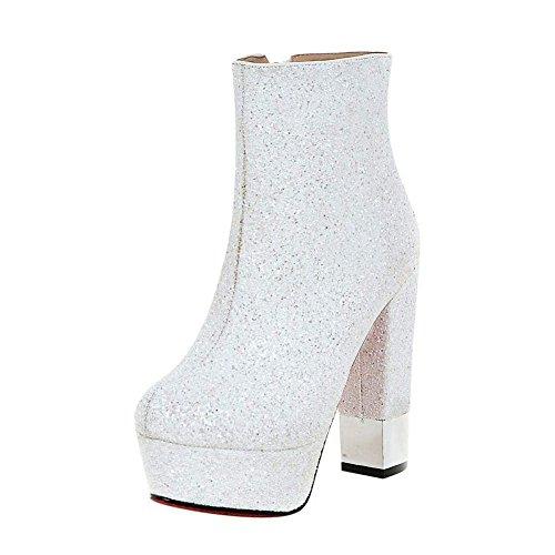 Plateau Weiß Boots Schuhe High YE Heels Damen Blockabsatz Glitzer Ankle Stiefeletten Extreme wqUURI