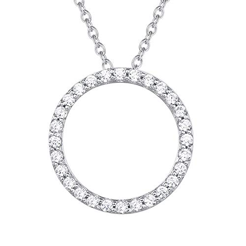 Agvana 925 Sterling Silver 5A Cubic Zirconia CZ Halo Circle Pendant Necklace Dainty Chic Jewelry Gifts for Women Girls with Exquisite Gift Box, 16