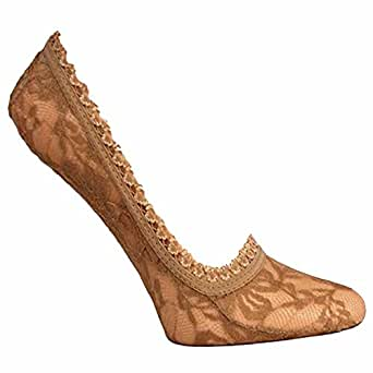 Nude Beige Lace 3-Pack No Show Socks